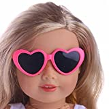 18inch Doll's Clothing Accessories, UPXIANG Doll's Lovely Fashion Plastic Frame Heart Sunglasses for 18 inch Our Generation American Girl Doll Toy (Hot Pink)