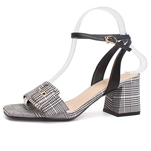 De Correa Moda La Las Vestido Decoración Negro Baile De Fiesta Sandalias Tacones De Zapatos De La De Altos Mujeres Hebilla Cuadrados Salvaje pHwn8q