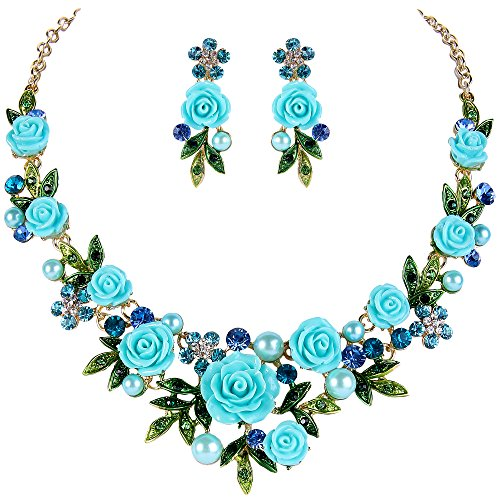 EVER FAITH Crystal Simulated Pearl Light Blue Rose Flower Leaf Necklace Pierced Earrings Set Gold-Tone
