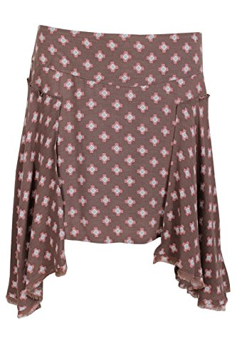 Free-People-Womens-Red-Brown-Geometric-Print-Easy-Mini-Skirt