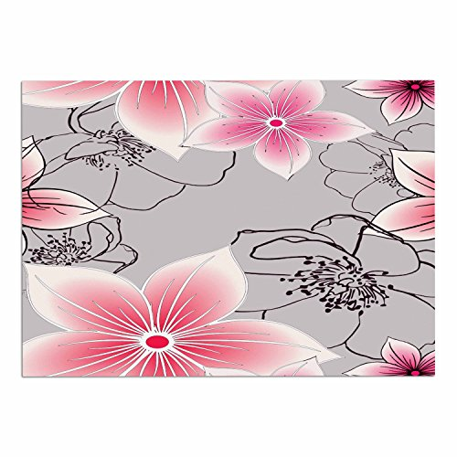 "chic KESS InHouse AC1079ADM02 Alison Coxon ""Grey And Pink Floral"" Grey Pink Dog Place Mat, 24"" x 15"""