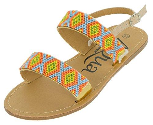 Beppi Kinder Sandalen Sommer Schuhe | Flache Strandschuhe Badeschuhe Mädchen | Sandaletten Fersenriemen | Orange oder Blau | 28-24 Orange
