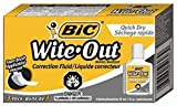 5 X BIC Wite-Out Quick Dry Correction Fluid - 3 Pack (BICWOFQD324)