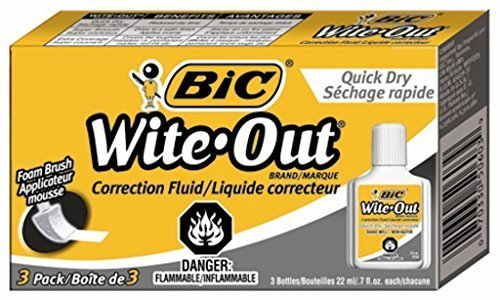5 X BIC Wite-Out Quick Dry Correction Fluid - 3 Pack (BICWOFQD324) by Wite Out (Image #1)