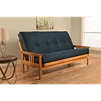 Kodiak Furniture KFMOBTSNAVYLF5MD3 Monterey Futon Set with Butternut Finish, Full, Suede Navy