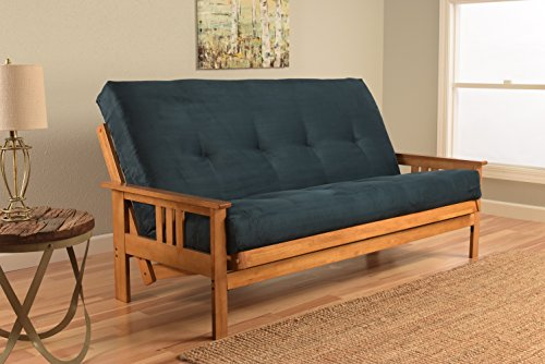 Kodiak Furniture KFMOBTSNAVYLF5MD3 Monterey Futon Set with Butternut Finish, Full, Suede Navy by Kodiak Furniture