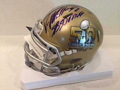 Denver Broncos Collectibles - Von Miller SB 50 Gold Mini Helmet Denver Broncos MVP