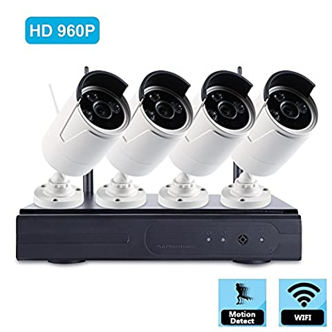 4CH HD Wifi Wireless Security Camera System with 4PCS 960P Outdoor Fixed IP66 Weatherproof IP Bullet Cameras with 66ft Infrared Night Vision,HDMI Output, QR Code Scan to Remote View (With 2TB - Wireless Outdoor Infrared Camera