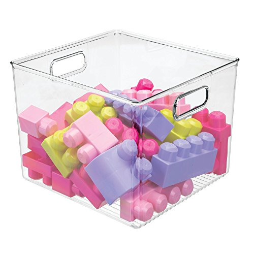 mDesign Plastic Storage Organizer, Holder Bin Box with Handles - for Cube Furniture Shelving Organization for Closet, Kid's Bedroom, Bathroom, Home Office - 10'' x 10'' x 8'' high - 2 Pack, Clear by mDesign (Image #4)