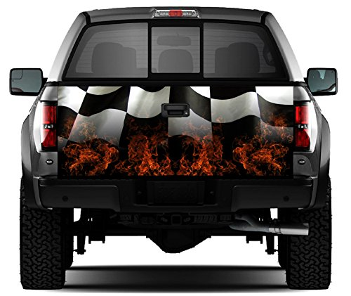 Racing Flag - Flames #2 Tailgate Wrap Vinyl Graphic Decal Sticker Wrap