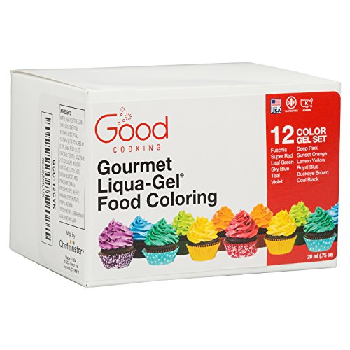 Food Coloring Liqua-Gel - 12 Color Variety Kit in .75 fl. oz. (20ml) Bottles by Good Cooking (Image #2)