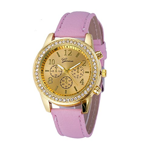 (Muranba 2019 ! Faux Chronograph Quartz Classic Round Ladies Women Crystals Watch (Pink))