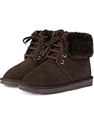 New Mooda Snow Winter Warm Womens Lace up Short Leather Boots Shoes Brown