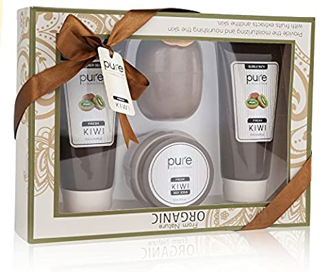 PURE Luxury Bath & Body Spa Gift Set. Natural Shower Gel & Body Lotion Gift Bag Featuring Kiwi. Premium Spa Gift Basket for Men & Women, Best Christmas - Energy Gift Basket