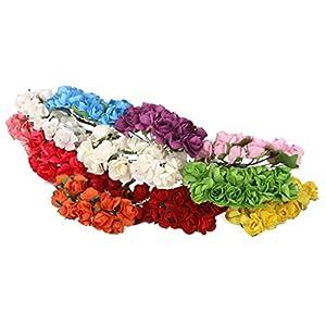 144pcs Artificial Paper Rose Flower Buds Mini Bouquet Party Decor- Yellow 4