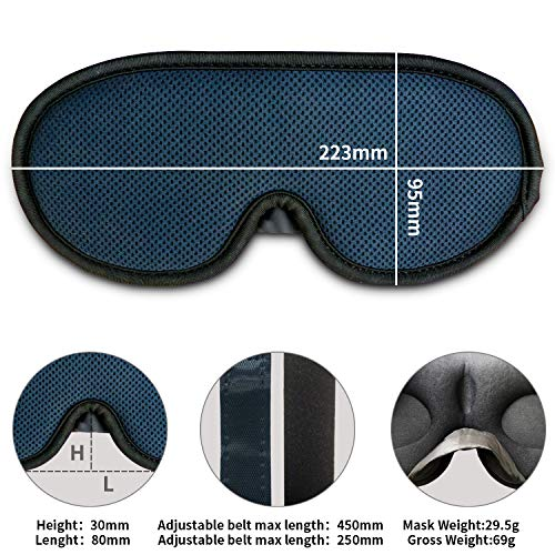 Eye Mask for Sleeping Women and Men, Sleep mask, New Upgraded 3D Contoured Sleep Mask Men & Women, Ultra Soft Breathable with Adjustable Strap 100% Blackout Eye Shades Blindfold for Complete Darkness