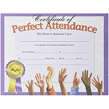 amazon com hayes perfect attendance certificate 8 1 2 x 11 in