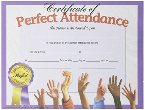 (Hayes Perfect Attendance Certificate, 8-1/2 X 11 in, Paper, Pack of 30)
