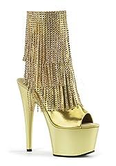 "7""(17.75cm) Heel         2 3/4""(7cm) Platform          Open toe/heel          3-Layer chrome plated ankle boot         Simulated rhinestone fringe detail         Inside zip closureSize:5-10"