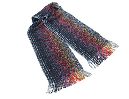 Wool Scarf Cashmere & Merino Navy & Purple (Weaver Stripe)