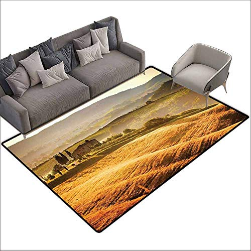 Floor Rug Pattern Tuscan Siena Tuscany Retro Farm House Trees Old Path Country Landscape on Sunset Quick and Easy to Clean W6' x L6'10 Ginger and Green