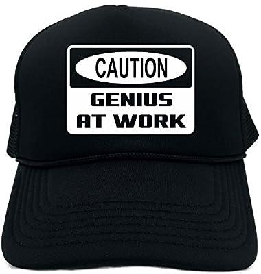 Funny Trucker Hat (Caution Genius at work) Unisex Adult Foam Retro Cap