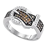 Sonia Jewels 10K White Gold Chocolate Brown & White Round Diamond Belt buckle Fashion Ring - Channel Setting (1/2 cttw.)