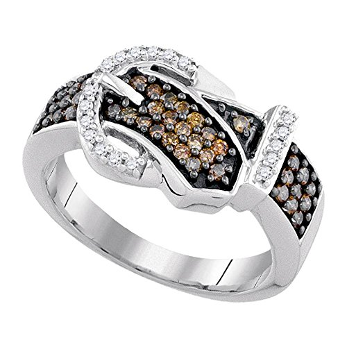 Buckle Diamond Brown Ring - Sonia Jewels Size 8.5-10K White Gold Chocolate Brown & White Round Diamond Belt Buckle Fashion Ring - Channel Setting (1/2 cttw.)