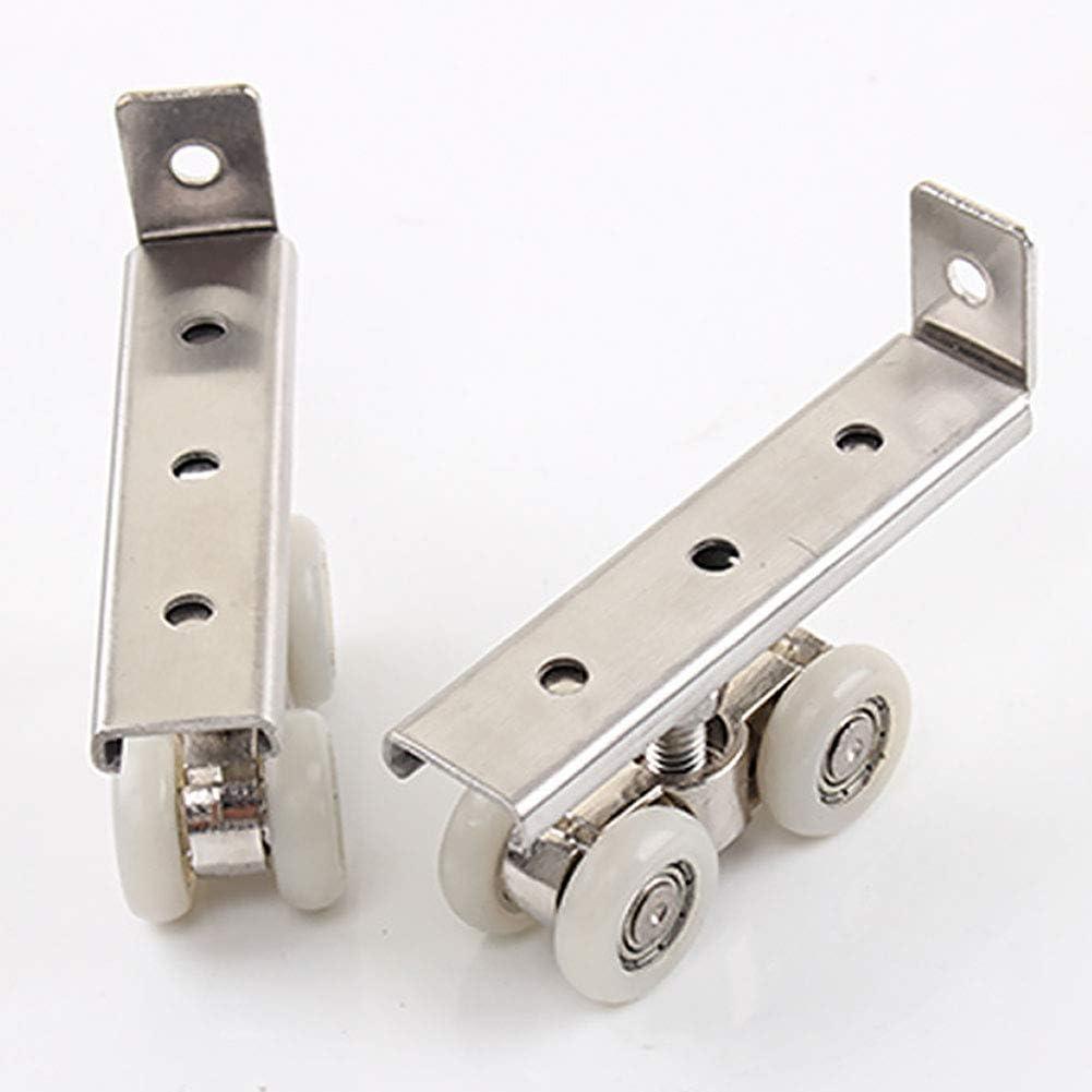 LNIMIKIY - 2 rodamientos de acero inoxidable para puertas correderas, 30 kg, para muebles, ruedas, Plateado, Tamaño libre: Amazon.es: Hogar