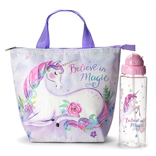 Insulated Lunch Tote Bag Set: Tri-Coastal Design Dreamers Unicorn Tote Lunch Box and Water Bottle - Large Reusable Lunch Bag and Non BPA Flip Top Plastic Water Bottle - 2 Piece Gift Sets for Girls -