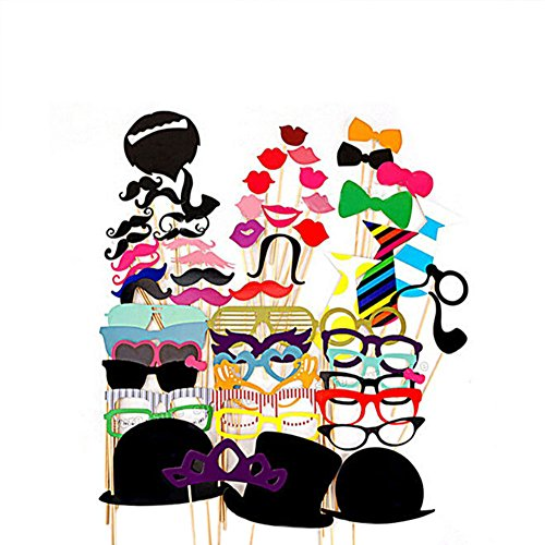 [FEELING WELL DIY Photo Booth Props 44 Pieces for Wedding Party Reunions Birthdays Dress-up Accessories, Costumes with Mustache on a stick, Hats, Glasses, Mouth, Bowler,] (Diy Family Costumes)