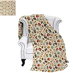 Custom Design Cozy Flannel Blanket Retro Pattern Old Fashioned Icons Alarm Clock Typewriter Gramophone Radio Cassette Weave Pattern Blanket 62x60 Multicolor