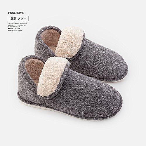 Fankou home inverno interno pacchetto spessa con cotone pantofole scarpe donna inverno coppie home pantofole e 41-42,: rosa chiaro