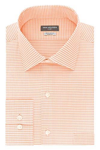 Van Heusen Men's Dress Shirt Regular Fit Flex Collar Stretch Check, Cantaloupe, 16.5
