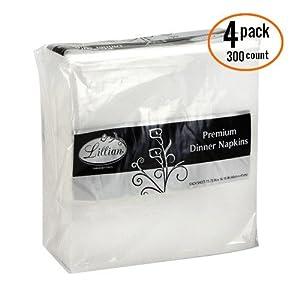 Premium White Napkins, 1/4 Fold Dinner Napkin, Value Pack 300 Count