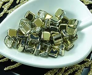 Farfalle, Twin, SuperDuo, Solo Beads 40pcs de Cristal Ámbar de Oro Metálico la Mitad checa de Baldosas de Dos 2 Agujero Cuadrado Perlas de Vidrio Plano de 6mm