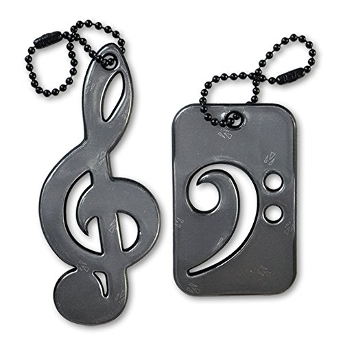 funflector Safety Reflector - Treble & Bass Clef - Black - Duo-pack (Halloween Duos For Couples)