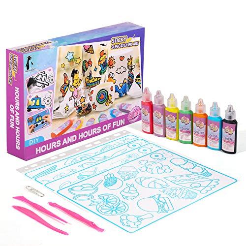 Koltose by Mash Sticky Suncatcher Art Craft Kit for Kids - Sun Catcher Window Art Craft Kit for Girls and Boys Ages 4 - 15, Over 100 Designs