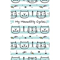My Meowthly Cycles: Striped Kitty Cat | period tracker | tips and tricks to help with PMS symptoms | 4 year monthly calendar log book