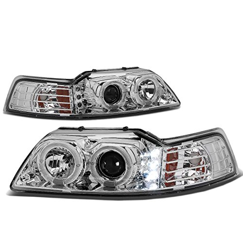 For Ford Mustang Chrome Housing Amber Corner SN-95 Dual Halo Projector+LED Headlight