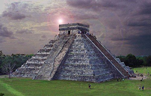 (Gifts Delight Laminated 37x24 Poster: City - Chichen Itza Aztec Temple Mayan Light Beam)