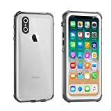 iPhone X Waterproof Case, Eonfine iPhone X Clear Protective Case IP68 Certified With Touch ID Screen Protector Ultra Slim Shockproof Case for iPhone X 5.8 inch
