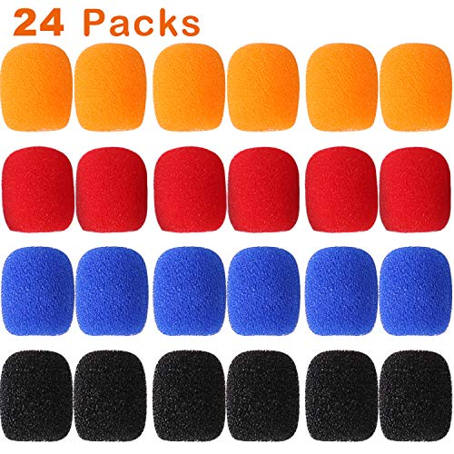 24 Pack Mini Microphone Windscreens Mini Size Lapel Headset Microphone Mic Sponge Windscreen Foam Cover Shield Protection