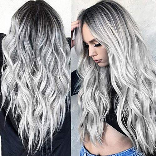 Clearance 28'' Cheap Synthetic Long Nature Wave Heat Resistant Wig Middle Part Ombre Black Rooted Silver Gray 100% High Density for -
