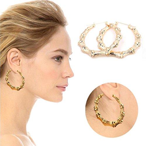 (Muranba Alloy Rounded Hoops Earrings Gold Tone Bamboo Circle Earrings (75mm,)