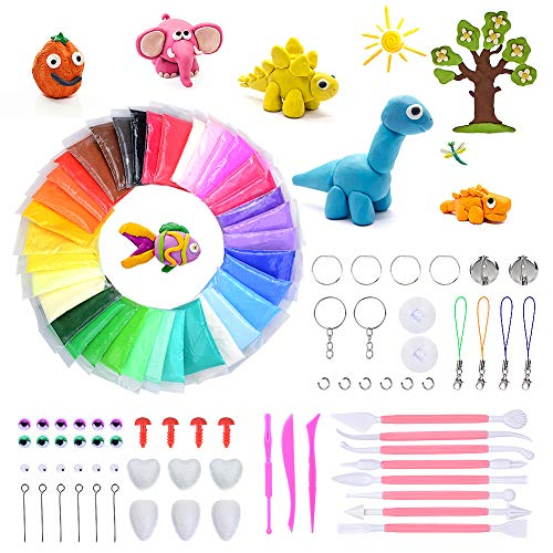 (DaCool Modeling Clay 36 Colors Air Dry Ultra Light Soft Magic Molding Clay DIY Plasticine Craft Toy with Multiple Tools, Great Gift for Kids)