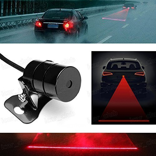 Qkking Newest Universal Anti Collision Rear-end Car or Motorcycle Laser Tail Fog Light Waterproof Auto Brake Parking Lamp Rearing Warning Light ()