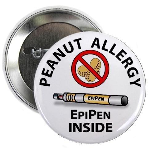 (PEANUT ALLERGY EpiPen Inside Medical Alert 2.25 inch Pinback Button Badge)