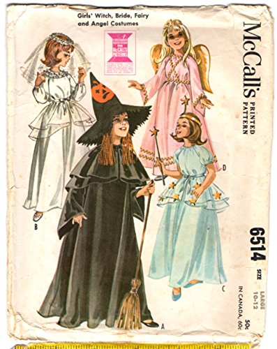 McCalls 6514 Childrens Costume Sewing Pattern Bride, Angel, Fairy, Witch, Child Size 10-12 Vintage 1980s