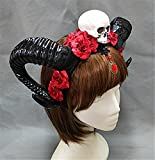 devil dress - Restyle Sheep Horn Headband Gothic Lolita Devil Floral Horns Headpieces Halloween Skull Veil Headdress Cosplay Hair Accessories (A)